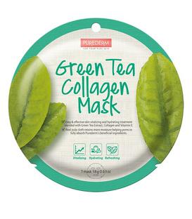 ماسک نقابی کلاژنه صورت Purederm پیوردرم با عصاره چای سبز - 1 ورق