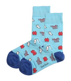 جوراب ساقدار داینو ساکس طرح لباس خونه آبی