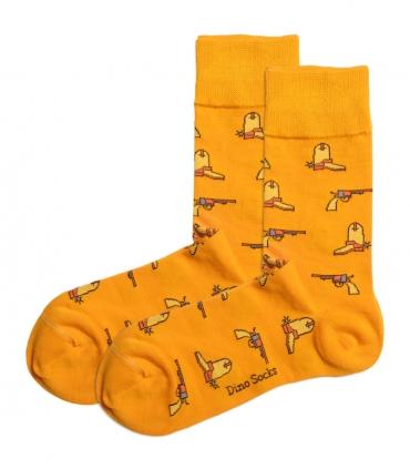 جوراب ساقدار داینو ساکس طرح تفنگ و چکمه پرتقالی