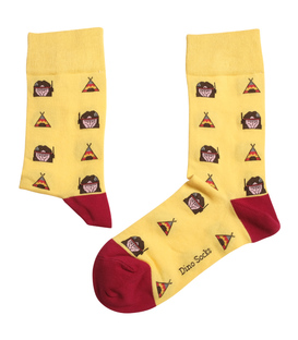 جوراب ساقدار داینو ساکس طرح خیمه و سرخپوست زرد