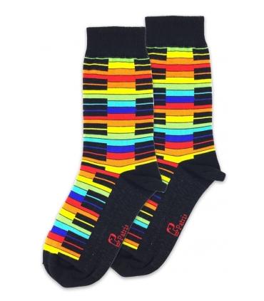 جوراب ساق دار نانو پاتریس طرح پیانو رنگی مشکی