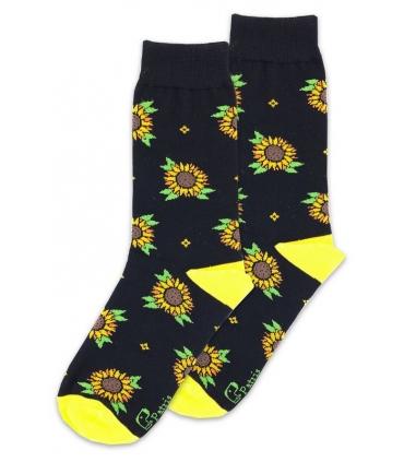 جوراب ساق دار نانو پاتریس طرح گل آفتابگردان مشکی