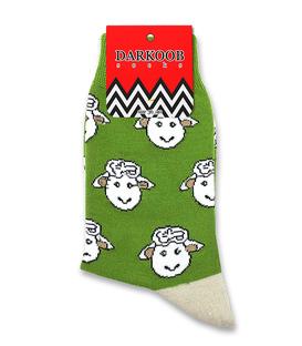 جوراب ساقدار دارکوب طرح بره سبز