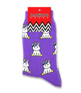 جوراب ساقدار دارکوب طرح تکشاخ بنفش