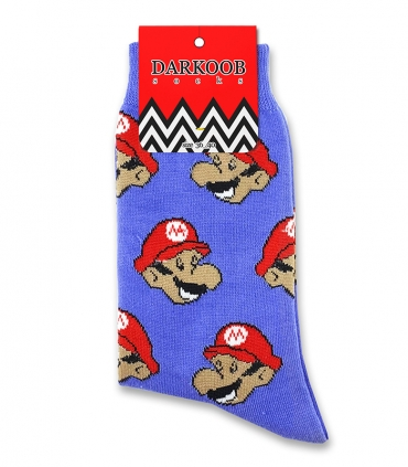 جوراب ساقدار دارکوب طرح ماریو بنفش