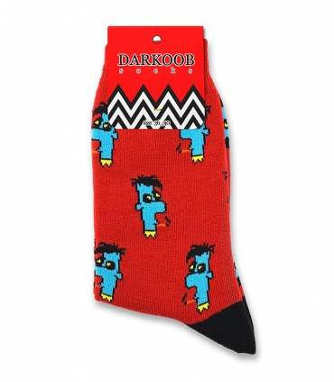 جوراب ساقدار دارکوب طرح اسموک قرمز