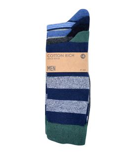 جوراب نخی ساقدار Cotton Rich راه راه سرمهای سبز مشکی - چهار جفت