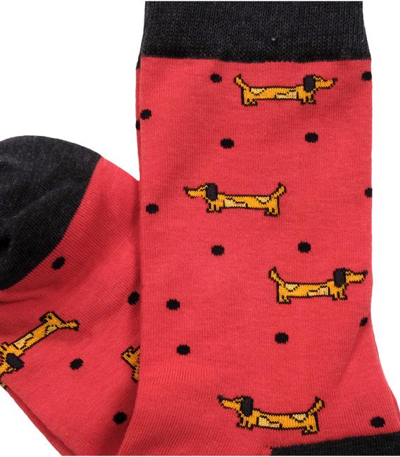 جوراب ساقدار داینو ساکس طرح سگ خال خالی قرمز