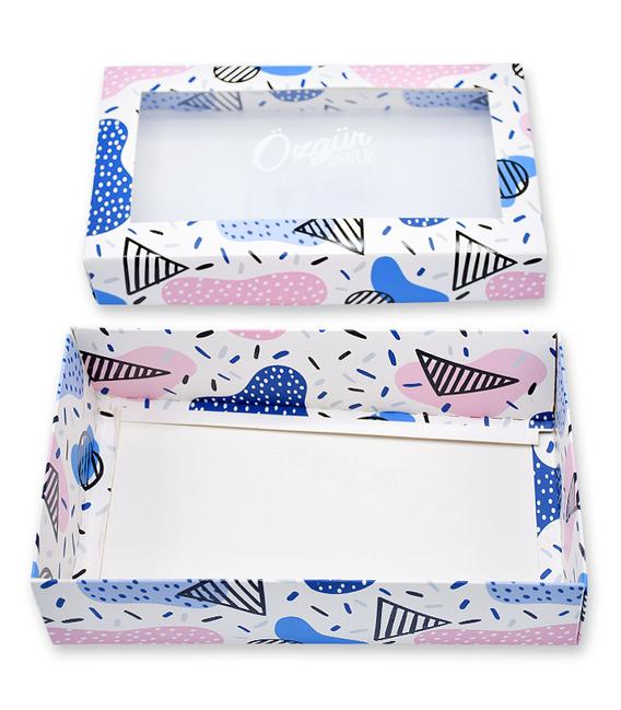 جعبه کادویی طلق دار Özgür طرح هندسی سفید و رنگی