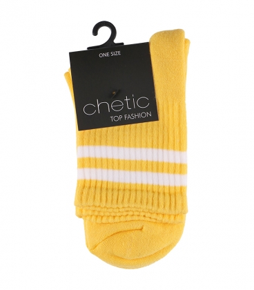 جوراب Chetic طرح دو خط زرد سفید