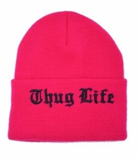 کلاه بافت طرح Thug Life صورتی مشکی