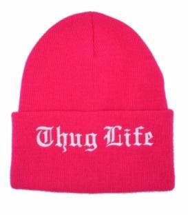 کلاه بافت طرح Thug Life صورتی سفید