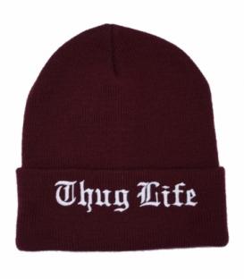 کلاه بافت طرح Thug Life زرشکی