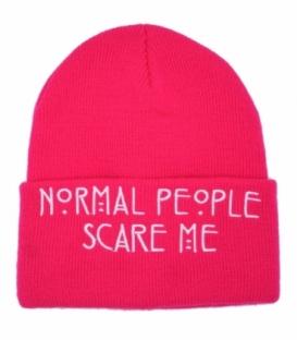 کلاه بافت طرح Normal People Scare Me صورتی سفید