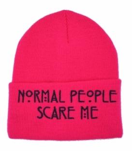 کلاه بافت طرح Normal People Scare Me صورتی مشکی