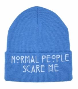 کلاه بافت طرح Normal People Scare Me آبی