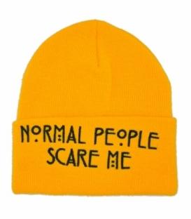 کلاه بافت طرح Normal People Scare Me زرد