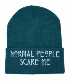 کلاه بافت طرح Normal People Scare Me سبز کله غازی