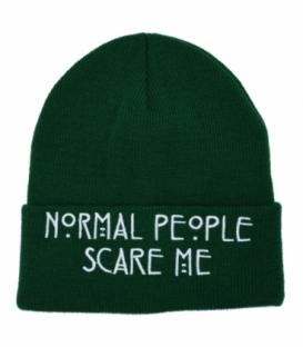 کلاه بافت طرح Normal People Scare Me سبز
