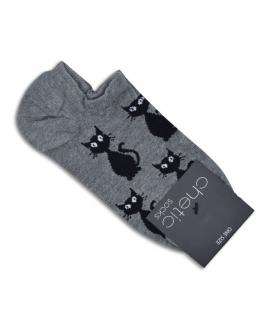جوراب قوزکی Chetic طرح گربه خاکستری