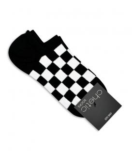 جوراب قوزکی Chetic طرح شطرنجی سفید و مشکی
