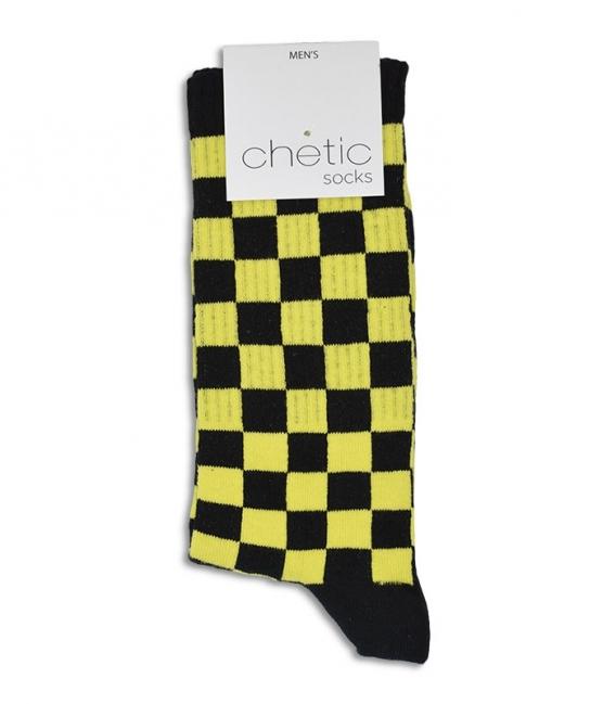 جوراب ساقدار Chetic طرح شطرنجی مشکی زرد
