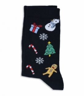 جوراب ساقدار Chetic طرح کریسمس مشکی