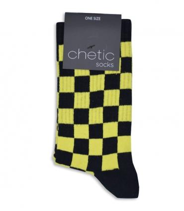جوراب ساقدار Chetic طرح شطرنجی زرد مشکی