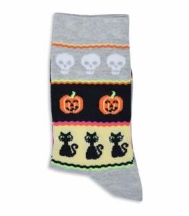 جوراب ساقدار Chetic طرح هالووین خاکستری