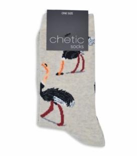 جوراب ساقدار Chetic طرح شترمرغ کرم