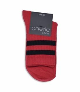 جوراب نیم ساق Chetic طرح دو خط مشکی قرمز