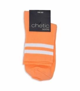 جوراب نیم ساق Chetic طرح دو خط سفید نارنجی پاستلی