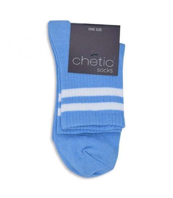 جوراب نیم ساق Chetic طرح دو خط سفید آبی