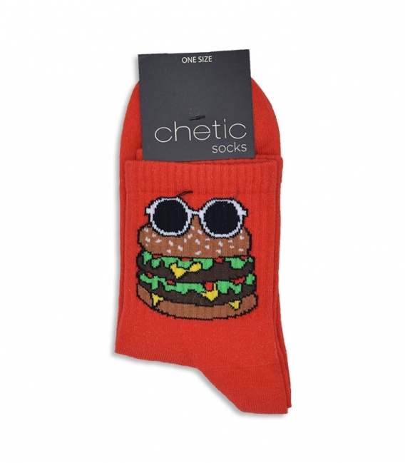 جوراب نیم ساق Chetic طرح همبرگر قرمز