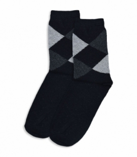 جوراب پشمی ساقدار طرح لوزی مشکی
