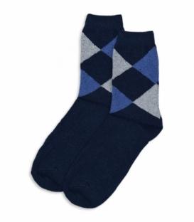 جوراب پشمی ساقدار طرح لوزی سرمهای