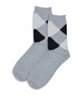 جوراب پشمی ساقدار طرح لوزی خاکستری