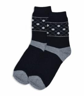 جوراب پشمی ساقدار طرح لوزی کوچک مشکی