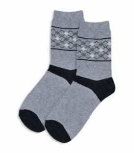 جوراب پشمی ساقدار طرح لوزی کوچک خاکستری