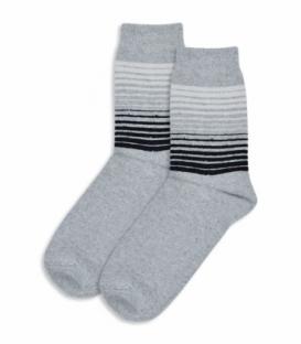 جوراب پشمی ساقدار طرح راه راه خاکستری روشن