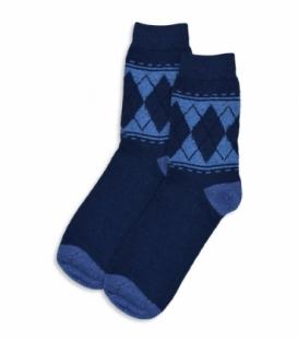 جوراب پشمی ساقدار طرح لوزی و خط سرمهای