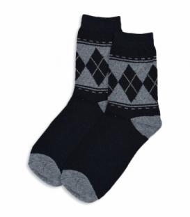 جوراب پشمی ساقدار طرح لوزی و خط مشکی