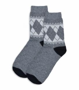 جوراب پشمی ساقدار طرح لوزی و خط خاکستری