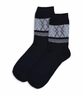 جوراب پشمی ساقدار طرح لوزی راه راه مشکی