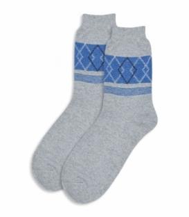 جوراب پشمی ساقدار طرح لوزی راه راه خاکستری روشن
