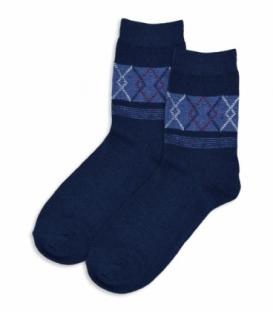 جوراب پشمی ساقدار طرح لوزی راه راه سرمهای