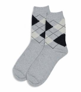 جوراب پشمی ساقدار طرح آرگایل خاکستری