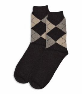 جوراب پشمی ساقدار طرح آرگایل قهوهای