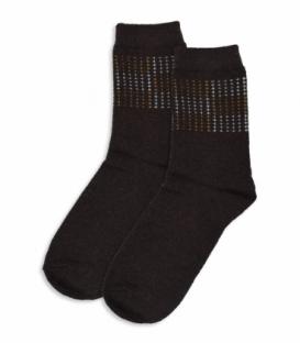جوراب پشمی ساقدار طرح نقطه قهوهای