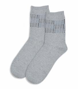 جوراب پشمی ساقدار طرح نقطه خاکستری